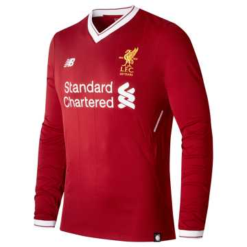 New Balance LFC Mens Wijnaldum Home LS EPL Patch Jersey, Red Pepper