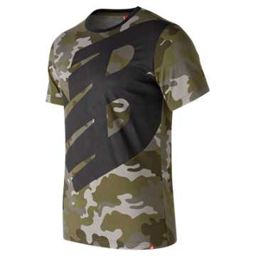 New Balance Essentials Logo Tee, Camo Green