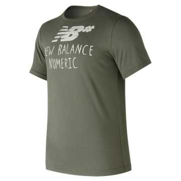 New Balance NB Numeric Hand Drawn Tee, Military Foliage Green