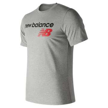 New Balance NB Athletics Main Logo Tee, Athletic Grey with Red