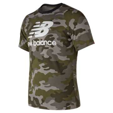 New Balance Essentials Stacked Logo Tee, Camo Green