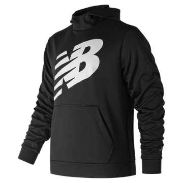 New Balance Graphic NB CoreFleece Hoodie, Black with White