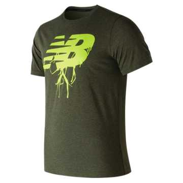 New Balance NB Heather Tech Tee, Dark Covert Green
