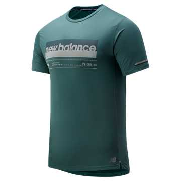 New Balance Printed NB Ice 2.0 Short Sleeve, Dark Agave