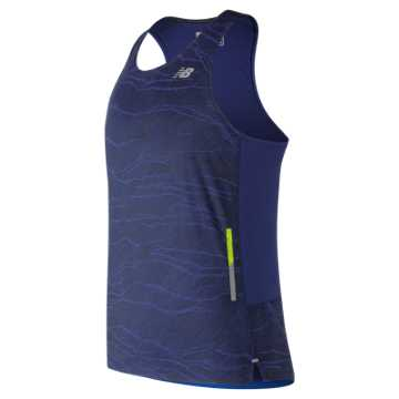 New Balance Printed NB Ice 2.0 Singlet, Techtonic Blue