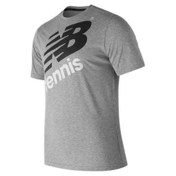 New Balance Graphic Heathered Tennis Crew, Athletic Grey with Black