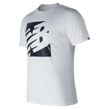 New Balance Fern Knockout Tee, White with Black