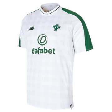 New Balance Celtic FC Away Short Sleeve Jersey, White with Celtic Green