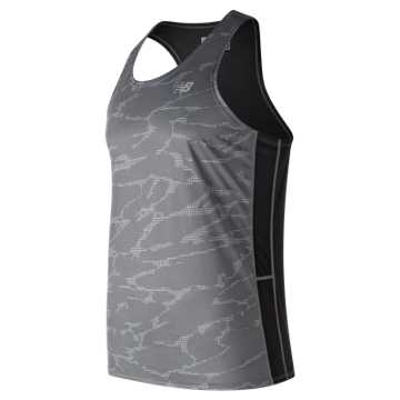 New Balance Printed Accelerate Singlet, Black with Grey