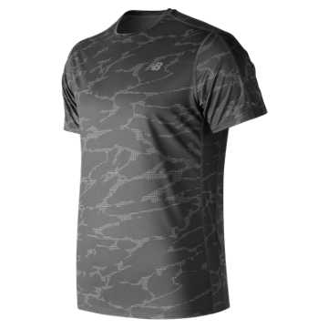 New Balance Printed Accelerate Short Sleeve, Black with Grey