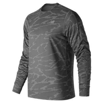 New Balance Printed Accelerate Long Sleeve, Black with Grey