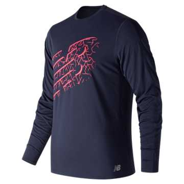 New Balance Printed Accelerate Long Sleeve, Pink Zing