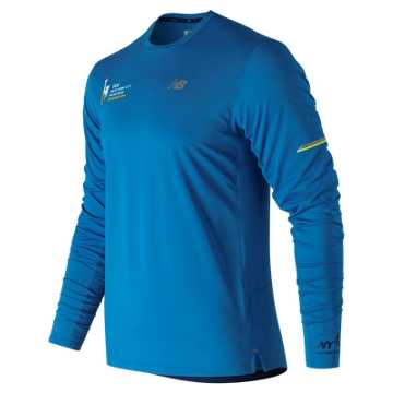 New Balance NYC Marathon NB Ice 2.0 Finisher Long Sleeve, Laser Blue Heather