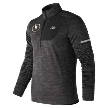 New Balance NYC Marathon NB Heat Quarter Zip, Heather Charcoal