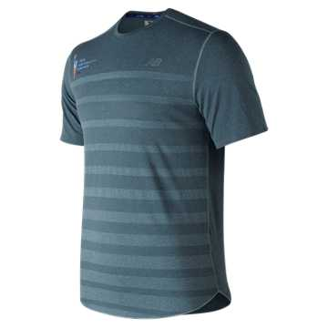 New Balance NYC Marathon Q Speed Jacquard Training Short Sleeve, Blue Smoke Heather