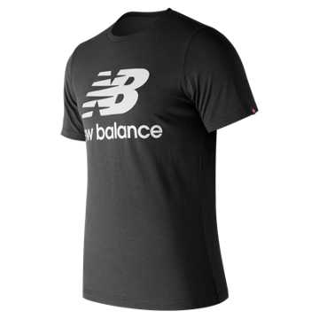 New Balance Essentials Stacked Logo Tee, Black