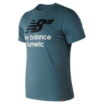 New Balance NB Numeric Stacked Logo Tee, Light Petrol