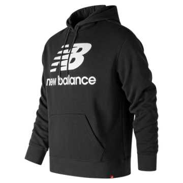 New Balance Essentials Stacked Pullover Hoodie, Black