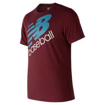 New Balance NB Baseball Heather Tech Tee, Burgundy
