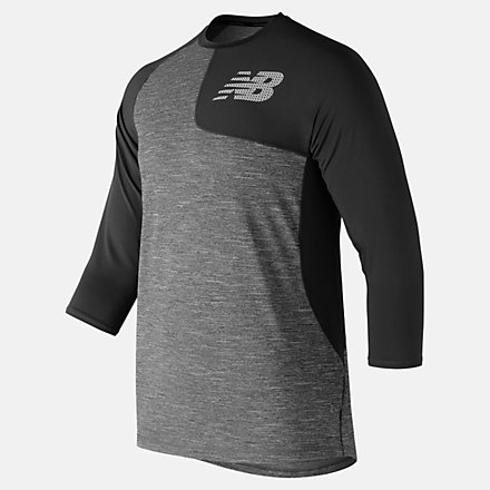 New Balance Asym 2.0 Left 3/4 Sleeve, MT83704LBK image number null