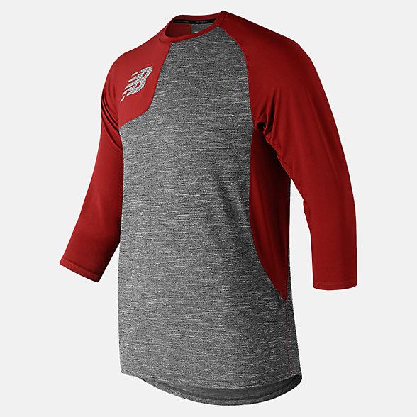 New Balance T-shirt asymétrique de droitier à manches trois quarts 2.0, MT83704RREP
