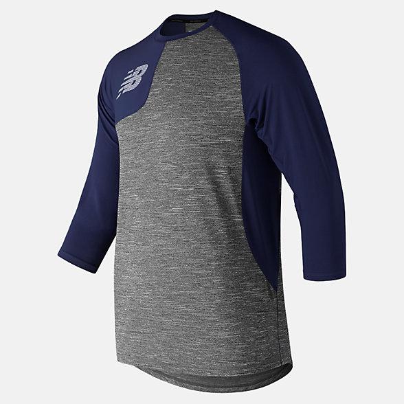 New Balance T-shirt asymétrique de droitier à manches trois quarts 2.0, MT83704RTNV