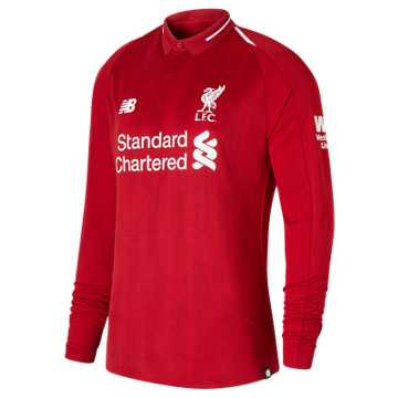 New Balance LFC Mens Salah Home Long Sleeve EPL Patch Jersey, Red Pepper