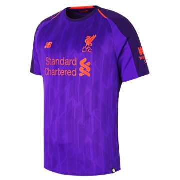 New Balance LFC Mens Salah Away Short Sleeve EPL Patch Jersey, Deep Violet