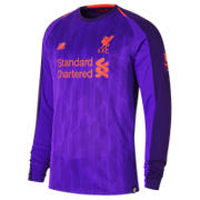 NB LFC Mens Salah Away Long Sleeve EPL Patch Jersey, Deep Violet