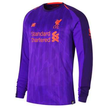 New Balance LFC Mens Virgil Away Long Sleeve EPL Patch Jersey, Deep Violet