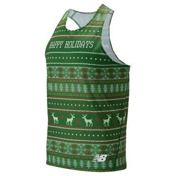 New Balance Happy Holidays Singlet, Team Forest Green