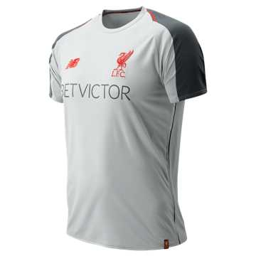 New Balance Liverpool FC Elite Training SS Jersey, Light Cyclone with Navy