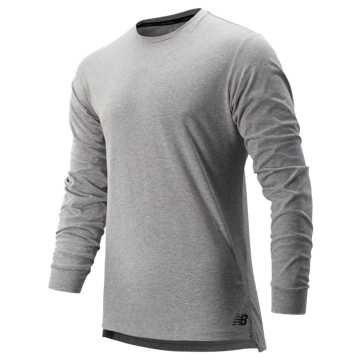 New Balance R.W.T. Long Sleeve Heathertech Tee, Athletic Grey