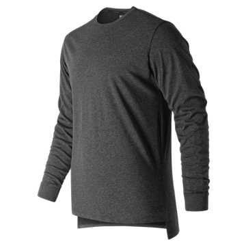 New Balance R.W.T. Long Sleeve Heathertech Tee, Black Heather