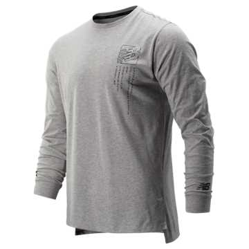 New Balance Printed R.W.T. Long Sleeve Heathertech Tee, Athletic Grey