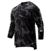 NB Printed R.W.T. Long Sleeve Heathertech Tee, Black Multi Print