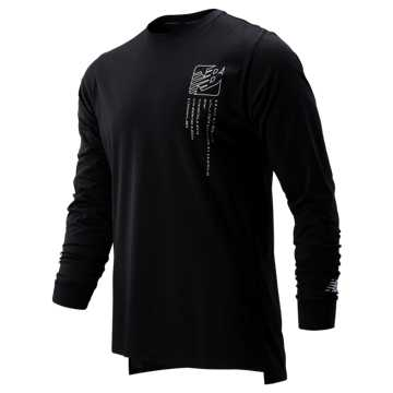 New Balance Printed R.W.T. Long Sleeve Heathertech Tee, Black with White