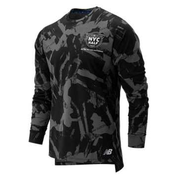 New Balance NYC Half R.W.T Long Sleeve Heather Tech Tee, Black Multi Print