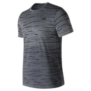 New Balance Cool Current Jacquard Short Sleeve, Heather Charcoal