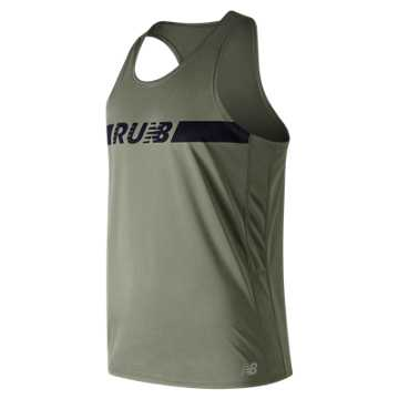 New Balance Printed Accelerate Singlet, Mineral Green