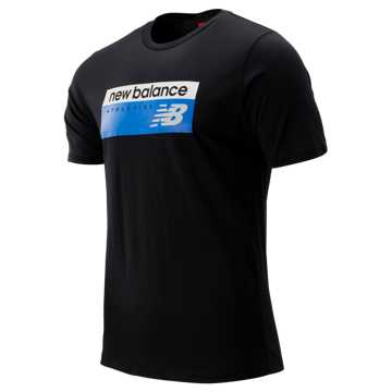 New Balance NB Athletics Banner Tee, Black with Vivid Cobalt