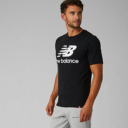 New Balance Essentials Stacked Logo Tee, MT91546BK image number null