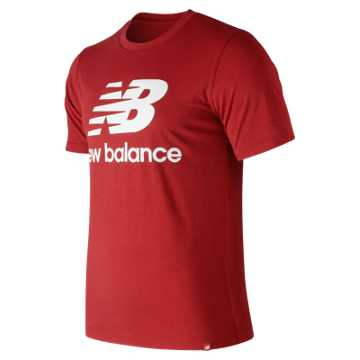 New Balance Essentials Stacked Logo Tee, Team Red Inline