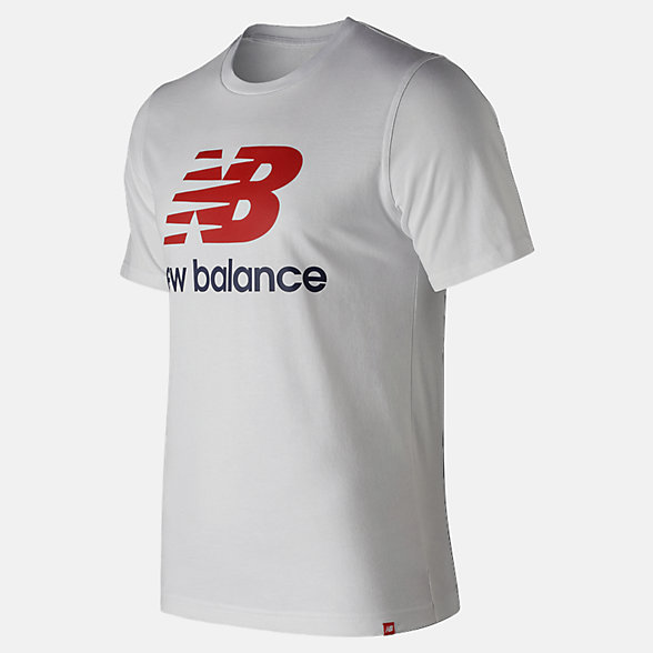 NB T-Shirt Essentials Stacked Logo, MT91546WT