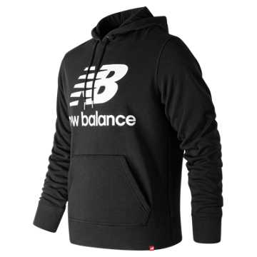 New Balance Essentials Stacked Logo Pullover Hoodie, Black