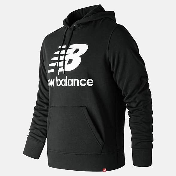 New Balance Essentials Stacked Logo Pullover Hoodie, MT91547BK