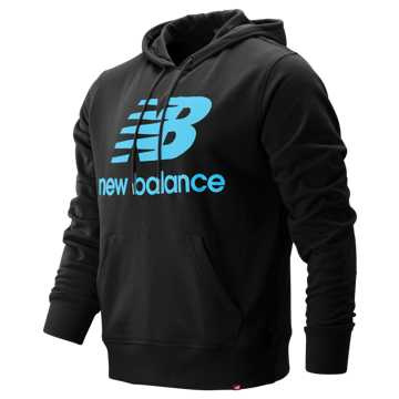 New Balance Essentials Stacked Logo Pullover Hoodie, Black Multi