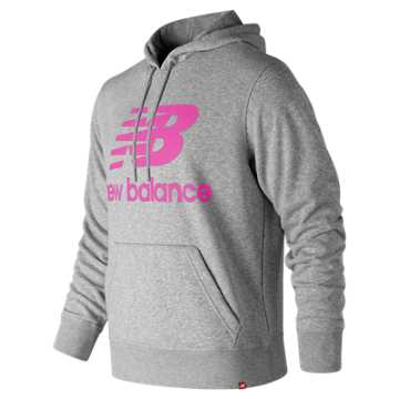 New Balance Essentials Stacked Logo Pullover Hoodie, Peony