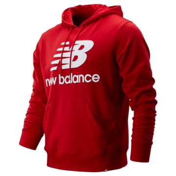 New Balance Essentials Stacked Logo Pullover Hoodie, Team Red