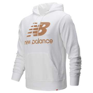 New Balance Essentials Stacked Logo Pullover Hoodie, White Multi